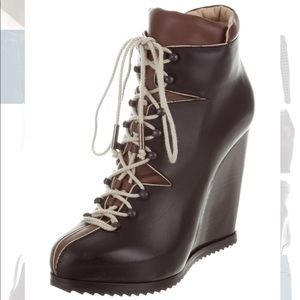 PIERRE HARDY LEATHER WEDGE ANKLE BOOTS 6 36